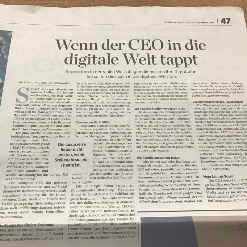 Handelszeitung Artikel CEO-Reputation
